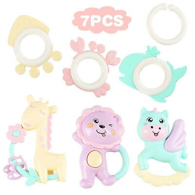 Baby Rattle Teether Toy Set Newborn Infant Teething Toys Gift Set 7PCS BPA Free