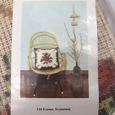 Vintage Dutch Cross Stitch Pillow Kit Rose Flowers Brown Red Large
