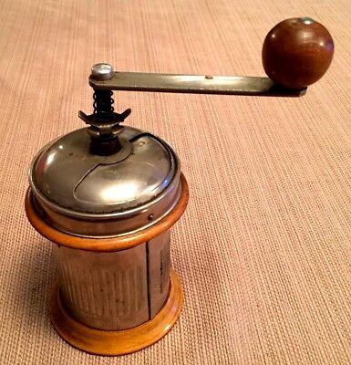 Early 1900's Cylindrical Biedermeier Peugeot Style COFFEE GRINDER MILL