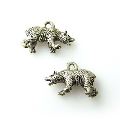 Grizzly Bear - 5 Lead Free Antique Silver Tone Pewter Charms