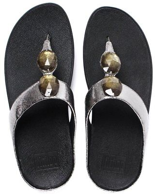 89edbe312409af BNWT Fitflop Women s Pierra Pewter Gemstone Toe Post Thong Sandals - 6   39