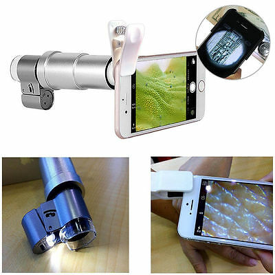 200X Optical Zoom Clip-on HD Microscope Camera Lens LED Light For Mobile Phones