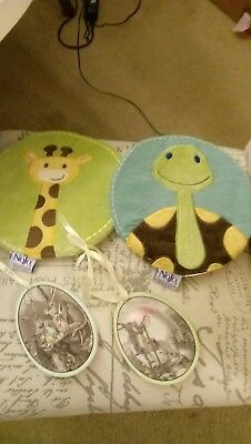 Lot of 4-NWOT Soft Round Wall Hanging Decor & Wood Plaques for Baby Room