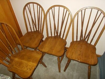Set of 4 Braced Back Windsor Wooden Dining Room Chairs Vintage LOCAL PICKUP ONLY