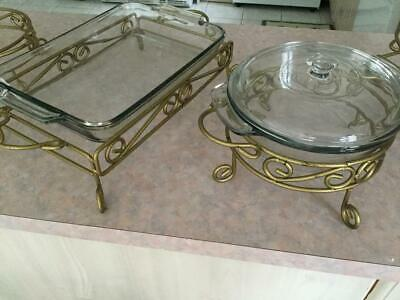 Gold metal racks/ stands buffet server, holds standard pyrex, ROUND OR RECTANGLE
