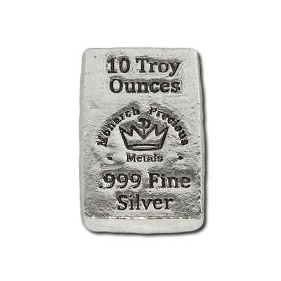 2 - 10 oz. 999 Fine Silver Bars - Monarch - Hand Poured - Uncirculated