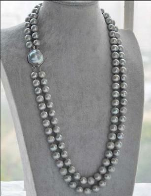 """Very Beautiful 2 Row South Sea Aaa 9-10Mm Gray Natural Pearl Necklace 20""""     !"""