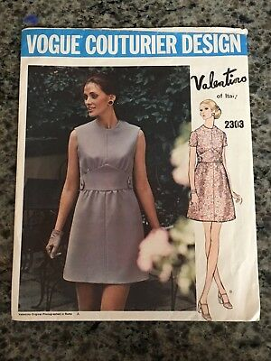 60S Vogue Couturier Design Sewing Pattern 2303 Valentino Misses Mini Dress Sz 14