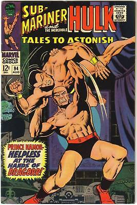 TALES TO ASTONISH #94 (Marvel) HULK & SUB-MARINER. RARE NM 9.4 HIGH GRADE! 1967