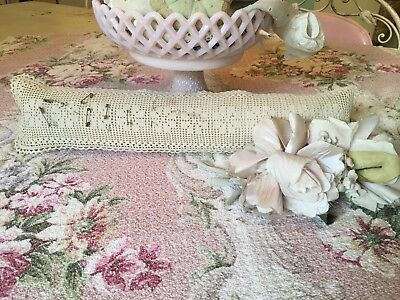 Antique Large Sewing Pincushion Needlework Floral Design Off White #H