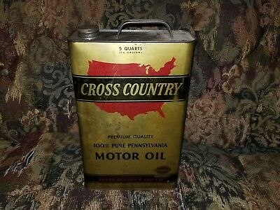 Nice Vintage Metal 5 Quart Sears Roebuck & Co. CROSS COUNTRY MOTOR OIL CAN