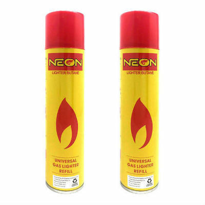 2 x NEON UNIVERSAL BUTANE GAS LIGHTER REFILL TORCH FUEL BBQ JET BLOW 300ml