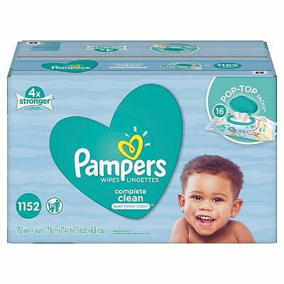 Pampers Scented Fresh Soft Strong Clean Baby Wipes Big Bulk Economy Size 1152 Ct