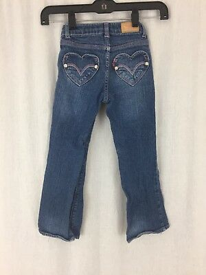8949ef3c69c Girls Levi's boot cut blue jeans hearts pink sparkles size 5 reg 4-5 years