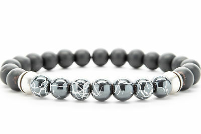 Gray Jasper Hematite Natural Stone Beaded Bracelet for Men Women Chakra-DT226