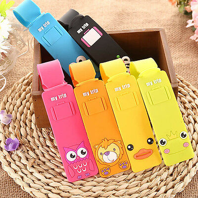 Lovely Silicone Cartoon Travel Luggage Tags Suitcase Baggage Label Name Address@