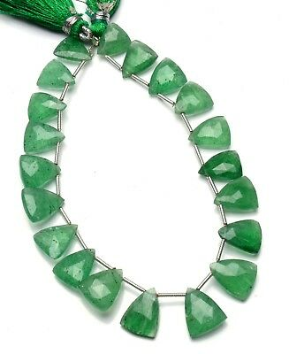"Natural Gem Green Strawberry Moss Quartz Faceted Pyramid Shape Beads 8"" Strand"
