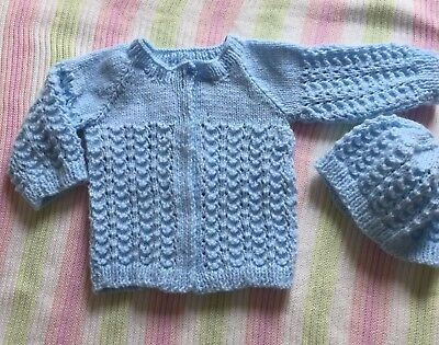 Hand knitted Blue Jacket and Hat:-