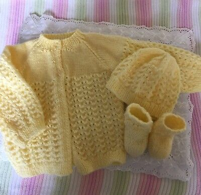 Hand Knitted Yellow Baby Jacket,  Hat And Booties