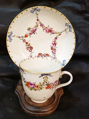 Antique 18thC Ludwigsburg Floral Garland blue bow teacup& Saucer Porcelain Rare