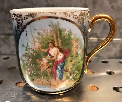 Vintage Imperial Austria China Demitasse Blue Gold Gilt Diana & Cupid Cup Only