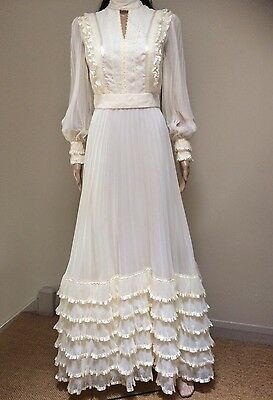 Vintage 50s 60s 70s Wedding Dress Size 12 Cream White Pronuptia of Paris
