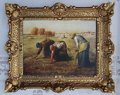 Beautiful Painting Pictures Baroque Hay Schober Straw Feldarbeiter 56x46 cm Mix