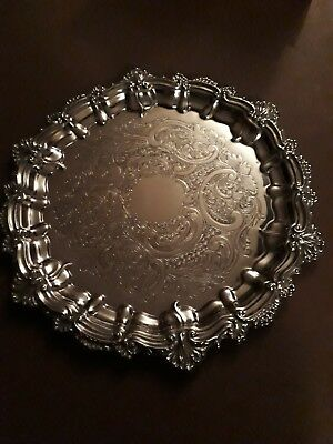 Vintage Silver Plated Floral Patterned Scalloped Edge Serving Tray