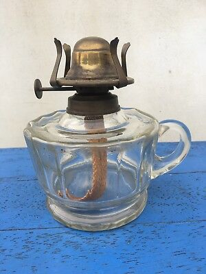 Vintage Glass Oil Lamp Base With Carry Handle