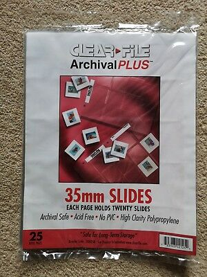 Clear File mounted slide Storage Pages For 35mm Film.  Qty25