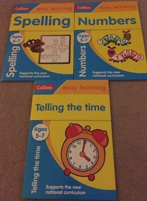 Collins Easy Learning Age 5-7 3 Books Numbers, Telling The Time, Spelling