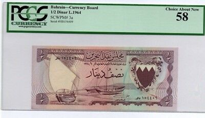 Bahrain Banknote first issue 1/2 dinar 1964  A/UNC grade 58