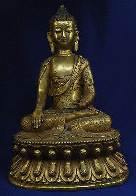 Antique 19th C Gilt Bronze Buddha Seated On A Double Lotus