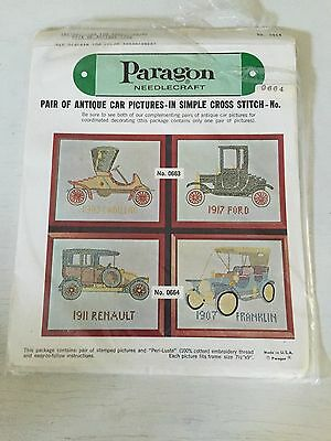 Paragon stamped Cross Stitch Kit PAIR OF ANTIQUE CAR #0664 Renault Franklin