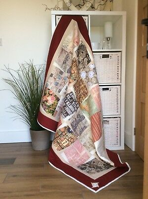 Handmade patchwork quilt in creams, browns, multi 168x122 cm