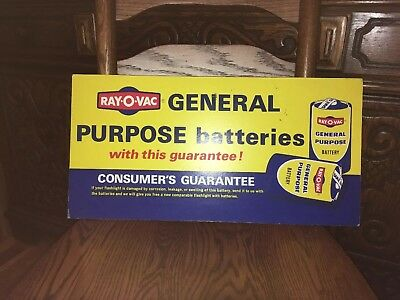 Vintage Ray O Vac Flashlight Battery Store Display Sign Double Sided Two Nice !