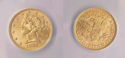 ANACS Certified Uncirculated 1893 P FIve Dollar Gold Coin Half Eagle MS 62