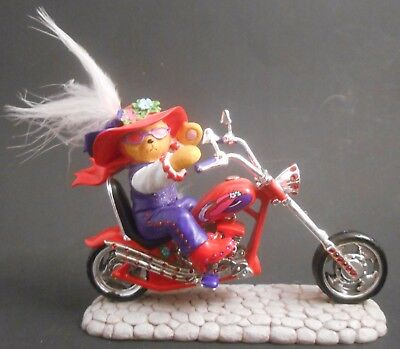 Hamilton Collection Red Hot Mamas Riding with Hattitude Red Hat Bear Motorcycle