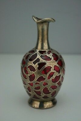 Antique Cranberry Glass Sterling Silver Overlay Perfume Bottle Birm 1900