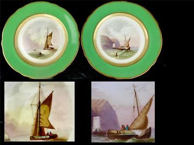 N791 Pair Antique Hand Painted Porcelain Plates Hastings River Thames Sailing