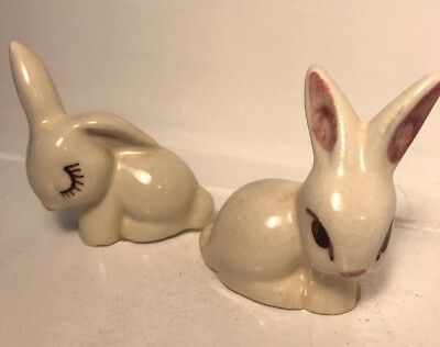 Vintage Set Lot 2 White Porcelain Ceramic Bunny Rabbit Figurines Cute Eyelashes