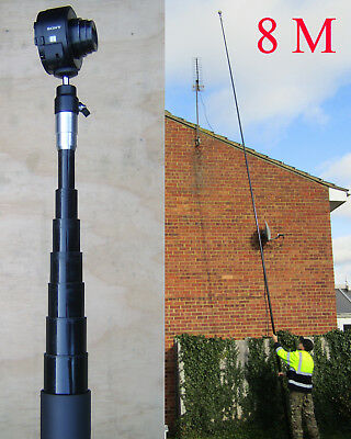 8M 26ft reach telescopic camera pole & mount for aerial photography & inspection