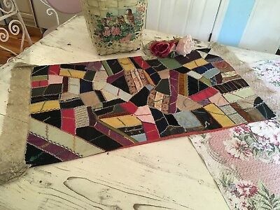 Amazing Antique Crazy Quilt Table Runner Early Fabric Lace Trim Needlework #H
