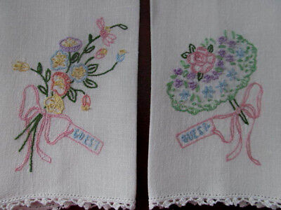 Set of 2~Sweet GUEST Linen Towels~Hand Embroidered Floral Bouquets Posy w/Bows