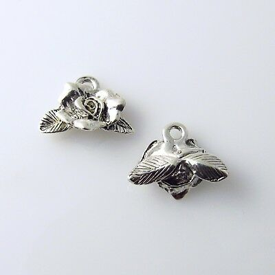 Rose Bud Flower - 5 Silver Tone Lead Free Pewter Charms