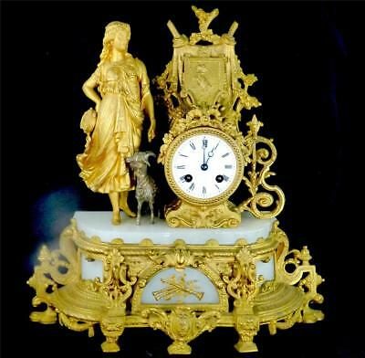 N799 ANTIQUE 19TH CENTURY FRENCH 8 DAY GILT SPELTER & ALABASTER CLOCK b