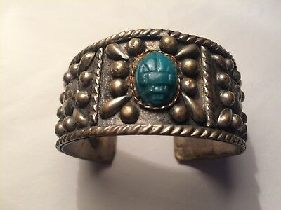 1920's Egyptian Revival Faience Scarab Wide Silver & Brass Cuff Bracelet Stamped
