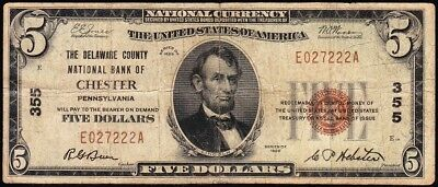 Nice 1929 $5 CHESTER, PA National Banknote! FREE SHIPPING! E027222A