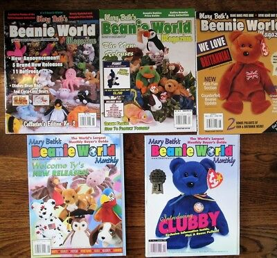 Lot of 5 Mary Beths Beanie World 1998 VOL 1 Magazine TY Beanie Baby reference