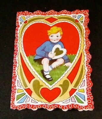 VINTAGE 1930 ART DECO VALENTINE CARD -- Double Sided -- GREAT COLORS!!